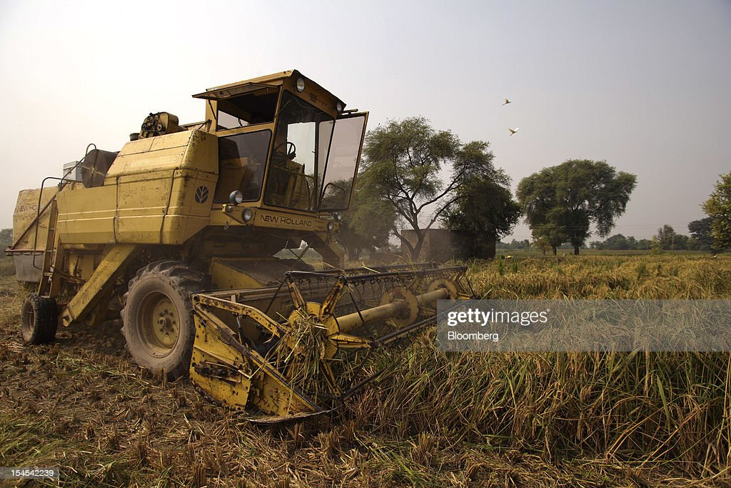 A worker operates a New Holland harvester to harvest rice in a paddy field in the Chiniot district of Punjab province, Pakistan, on Saturday, Oct. 13, 2012. Rice exports from Pakistan, the fourth-largest shipper, are set to rebound from November with the new harvest after a rally in domestic prices and cheaper supplies from India cut shipments, a traders' group said. Photographer: Asad Zaidi/Bloomberg via Getty Images