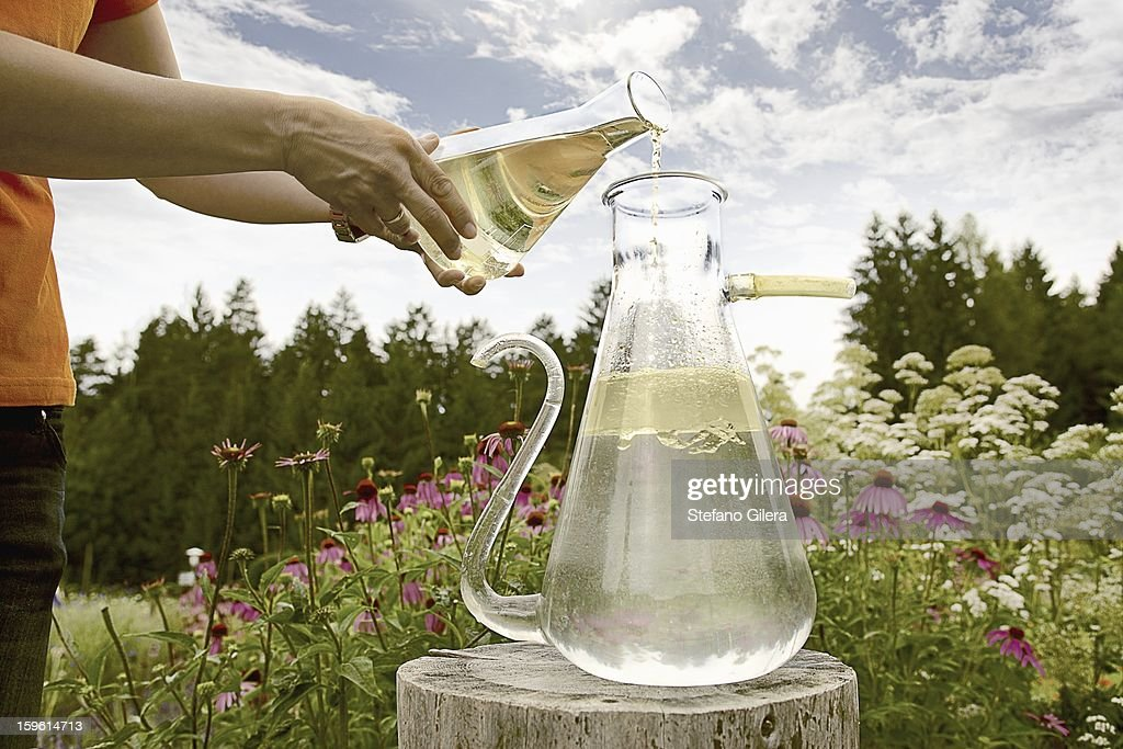 Worker pouring chemicals in field : Stock Photo