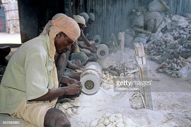 Worker preparing conches in Rameswaram