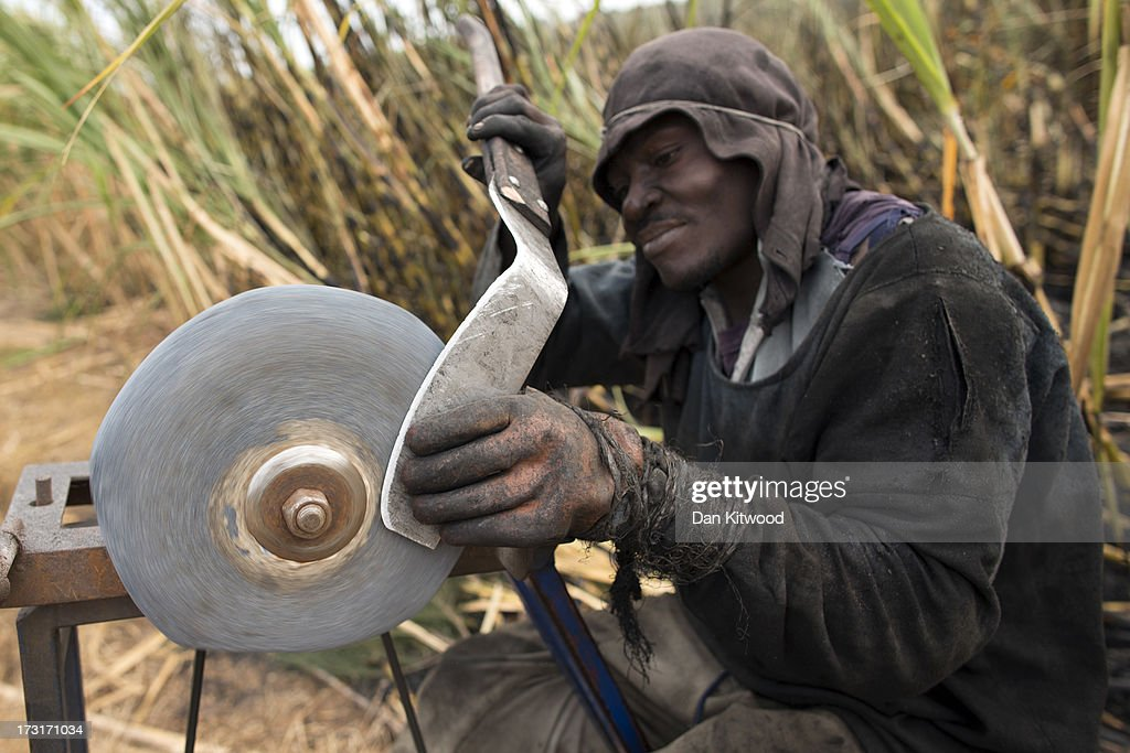 A worker sharpens a blade in a sugarcane field near the Kruger National Park on July 8, 2013 in Komatiepoort, South Africa. South Africa is the world's tenth largest producer of sugarcane with growers annually producing an average of 19.9 million tons of sugarcane per year. The participation of black farmers working on sugarcane production is constantly increasing through the development and empowerment of previously disadvantaged people within their communities.