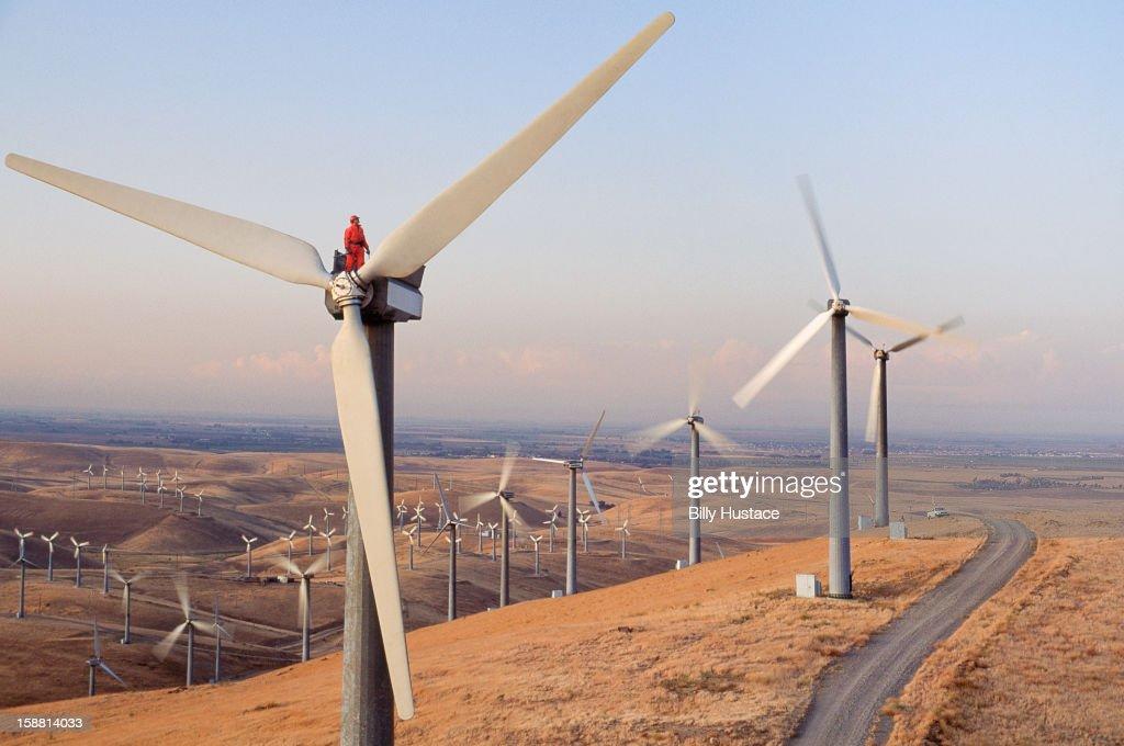 Worker standing on wind turbine at wind farm : Stock Photo
