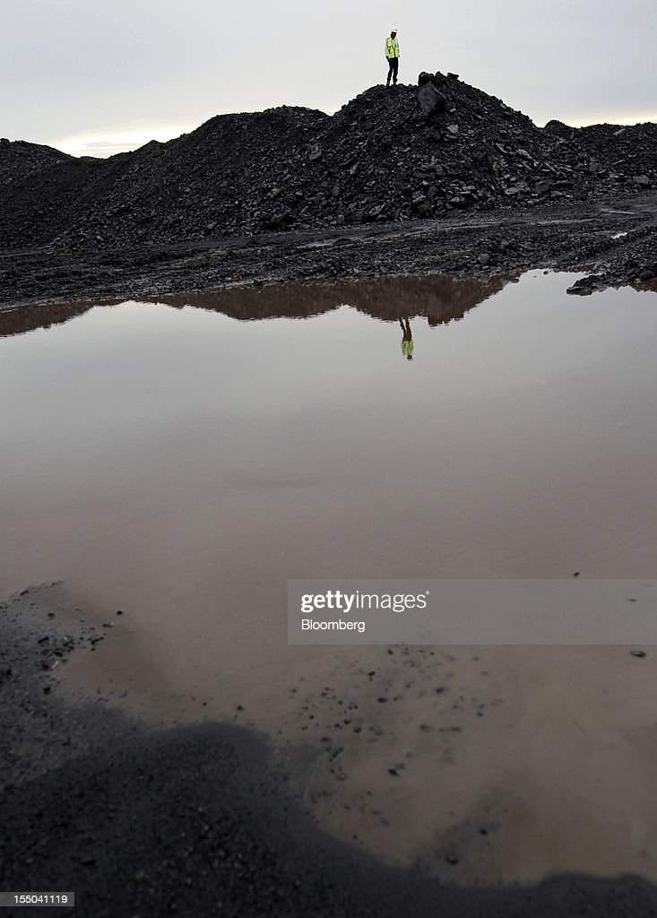 A worker stands on a stockpile of coal at the PT Exploitasi Energi Indonesia operations in Asam-Asam, South Kalimantan, Indonesia, on Monday Oct. 29, 2012. Indonesia, the world's largest exporter of coal for electricity generation, will reduce the amount of the fuel that producers must sell to buyers inside the country for next year by 9.4 percent. Photographer: Dadang Tri/Bloomberg via Getty Images