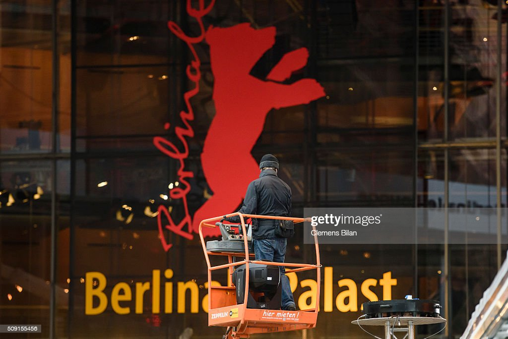 A worker stands on lifting ramp during preparations prior to the 66th Berlinale on February 9, 2016 in Berlin, Germany.