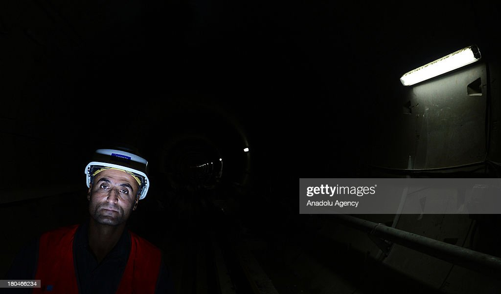 A worker underground at the construction site on the subway on August 15, 2012 in Ankara.Three new lines are being added to Anakara's Subway system to be completed by June 2014.