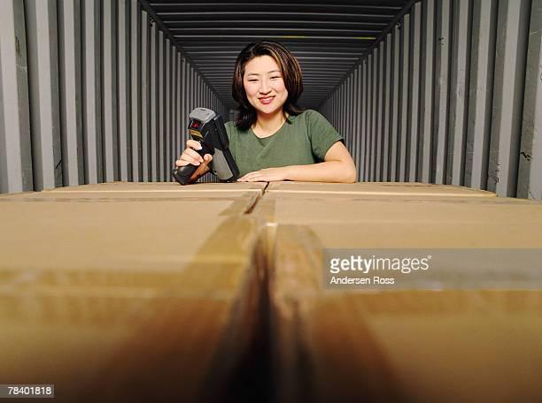 Worker using scanner
