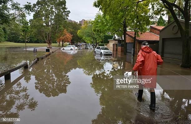A worker wades past inundated cars on a flooded street after a storm in the eastern suburbs of Sydney on December 16 2015 Sydney was smashed by a...