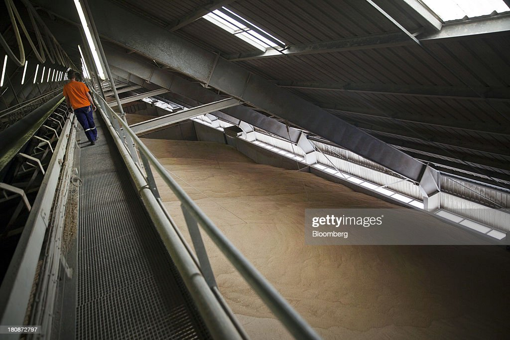 A worker walks inside the grain storage facilities at Tellines Port, operated by the Marseille-Fos Port Authority in Port Saint Louis du Rhone, France, on Monday, Sept. 16, 2013. European Union average corn yields will be lower than expected last month after hot and dry weather in Italy during flowering in August hurt the grain, according to the bloc's crop-monitoring unit. Photographer: Balint Porneczi/Bloomberg via Getty Images
