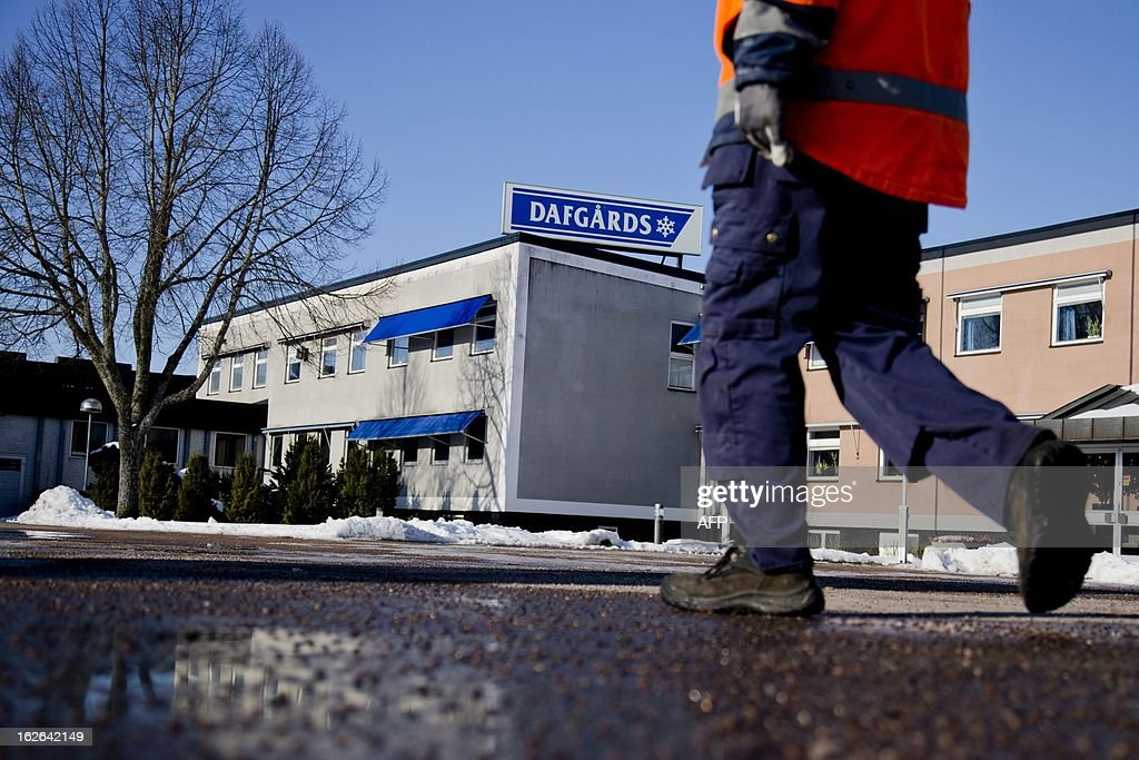 A worker walks on February 25, 2013 outside the Dafgard food company in Lidkoping. Furniture retailer IKEA says it has halted all sales of meat balls in Sweden after Czech authorities detected horse meat in frozen meatballs that were labeled as beef and pork and distributed mostly by Dafgard.