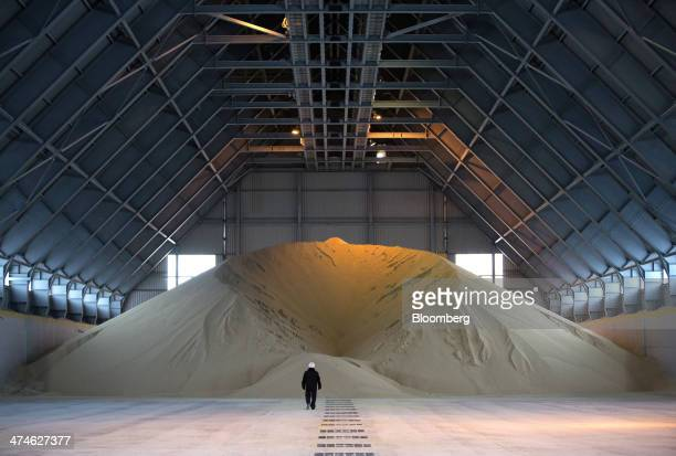 A worker walks towards a large pile of phosphate fertilizer stored inside a building at the OAO Phosagro plant in Cherepovets Russia on Friday Feb 21...