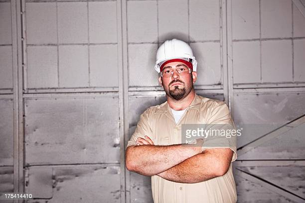 Worker wearing hardhat