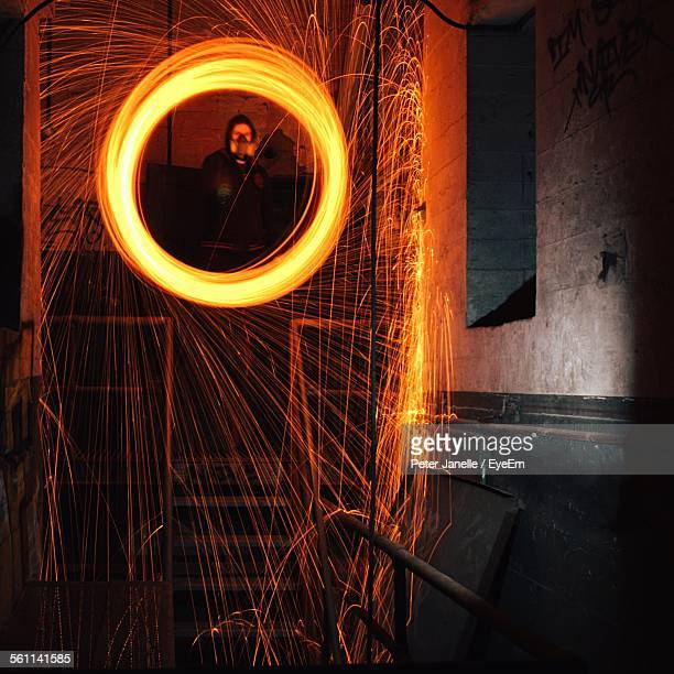 Worker Welding On Staircase