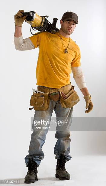 Worker with Electric jackhammer