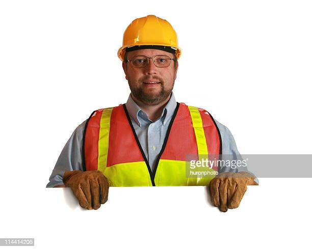 Arbeiter mit Schild
