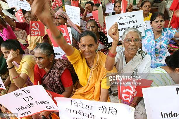 CPI workers and activists protesting against Joint Naval Exercise Malabar involving India the US Japan Australia and Singapore2007 in New Delhi India
