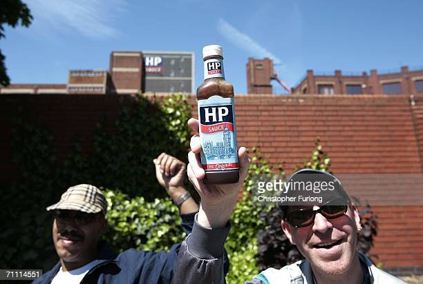 Workers and supporters from Birmingham's HP Sauce company march outside the factory against closure on June 3 Birmingham England The HP Foods factory...