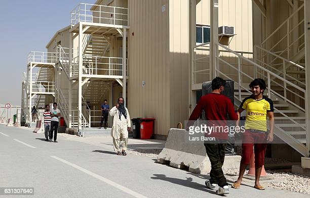 Workers are seen in their accommodation during a tour at the construction site of the Al Bayt Stadium and the workers accommodation on January 9 2017...