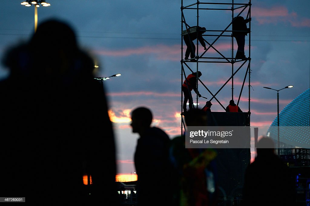 Workers are seen inside the Olympic Park prior to the Sochi 2014 Winter Olympics on February 6, 2014 in Sochi, Russia.