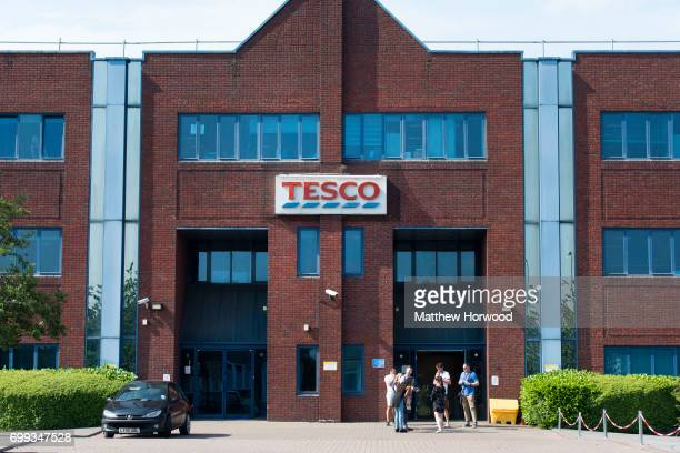Workers are seen outside the Tesco call centre on MaesYCoed Road on June 21 2017 in Cardiff Wales Tesco have today announced that the 'customer...
