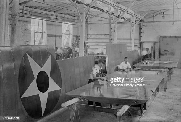 Workers Assembling Airplane Wings during World War I Lowe Willard Fowler Engineering Company College Point Queens New York USA Bain News Service...