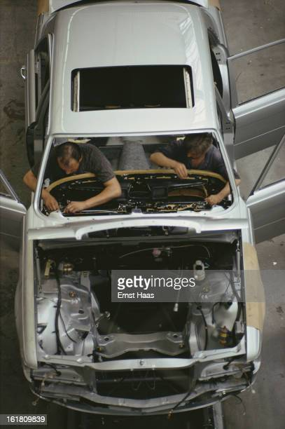 Workers at a Mercedes factory in Germany July 1973