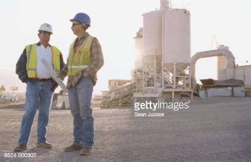 Workers at Asphalt Plant : Stock Photo