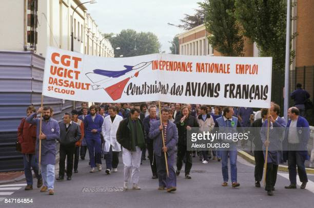 Workers at Dassault plant protest against job cuts on October 12 1987 in SaintCloud France