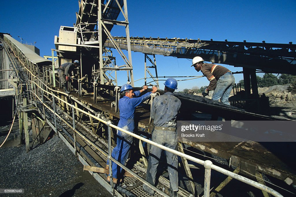 Workers at Kinross a small gold mining town in Mpumalanga South Africa with four gold mines in the region
