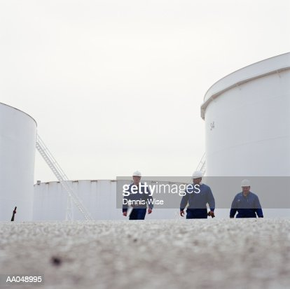 Workers at oil refinery