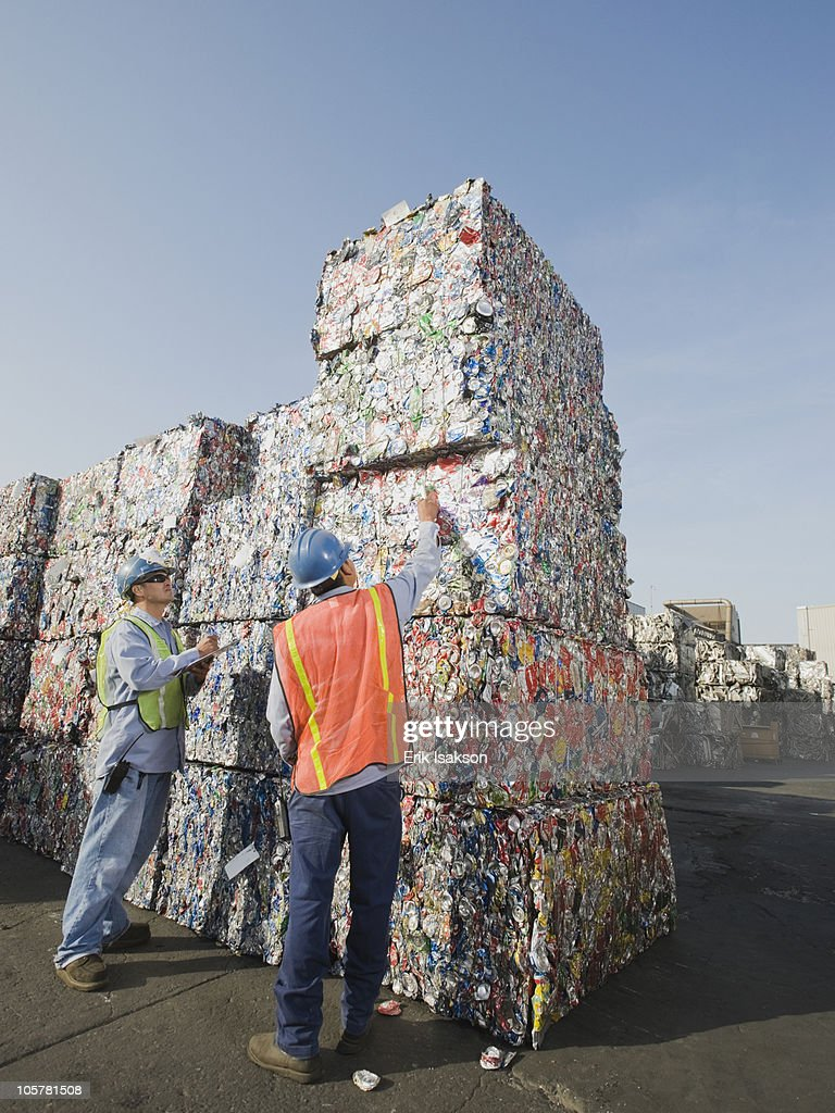 Workers at recycling plant : Stock Photo