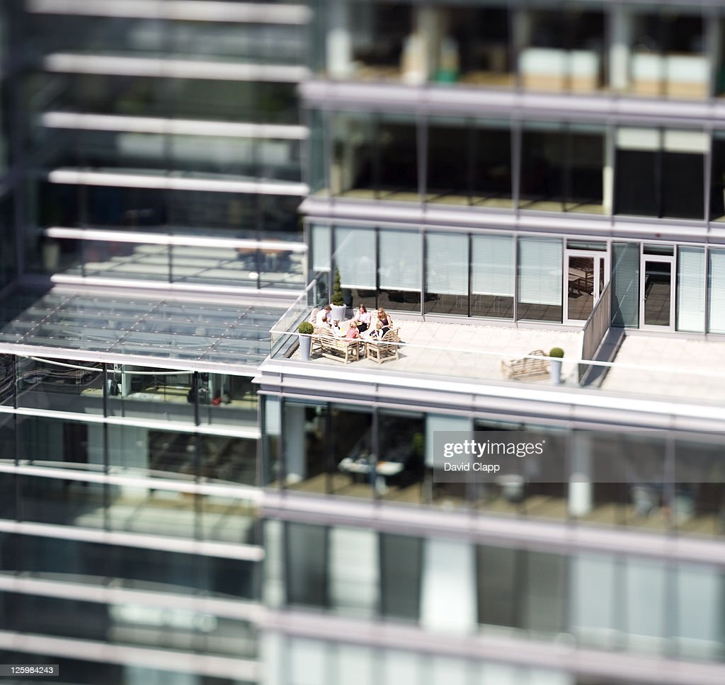 Workers at rooftop lunch, Westmnister, London, UK : Stock Photo