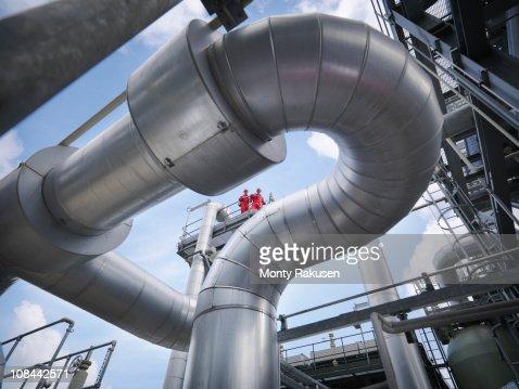 Workers at underground gas storage plant