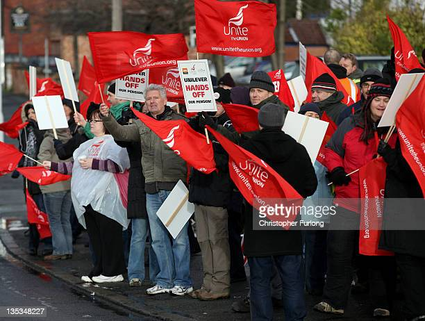 Workers at Unilever's Port Sunlight factory picket outside the main gates of the factory on the Wirral Merseyside on December 9 2011 in Port Sunlight...