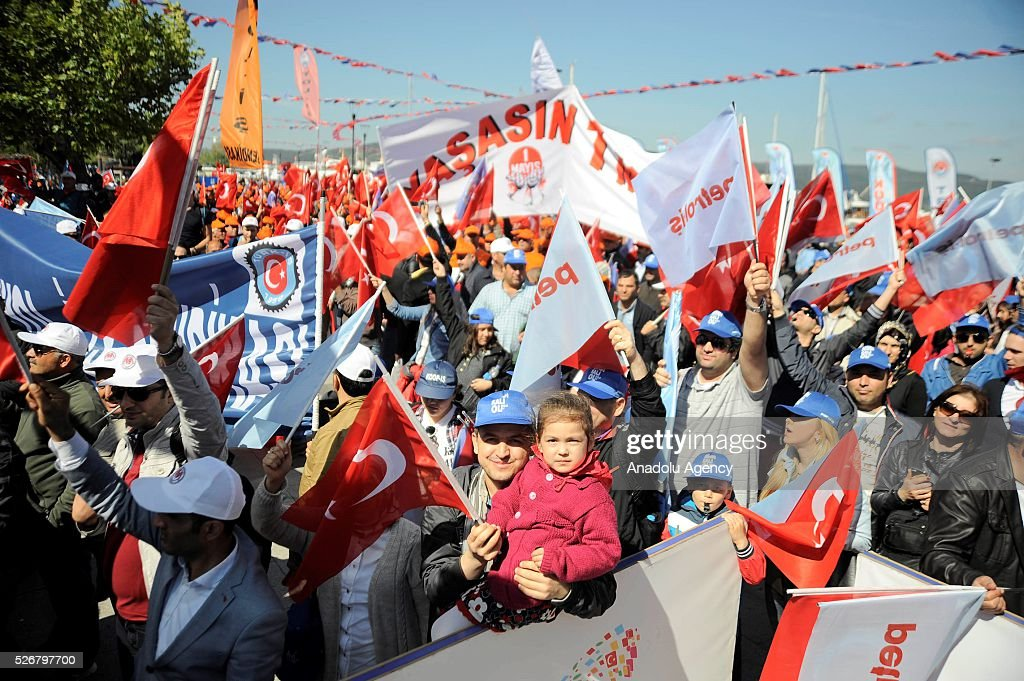 Workers attend a rally, organized by Turk-Is, to mark May Day, International Workers' Day, at Kordon Boyu, in Canakkale, Turkey on May 1, 2016. Every year, May Day is observed and commemorated as an official holiday under the name 'May 1, Labour and Solidarity Day' all around Turkey.
