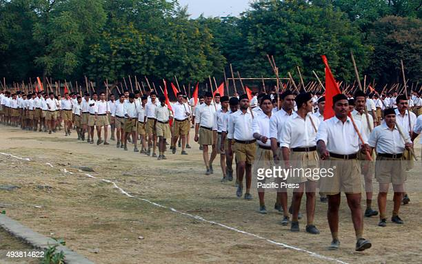 RSS workers attending Path Sanchalan during Dusshaera festival in Allahabad