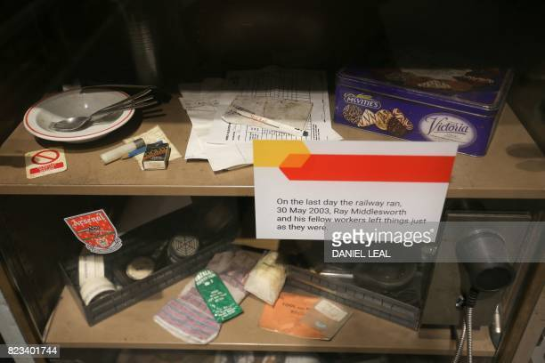 01 GMT / Workers belongings are seen inside a display cabinet untouched since the 30th May 2003 the last day for workers at the Rail Mail tunners...