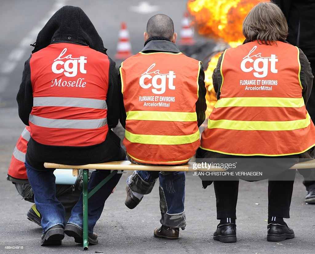 Workers block the access of the ArcelorMittal steel factory during a demonstration on March 08 2012 at Florange northeastern France as a mediation...