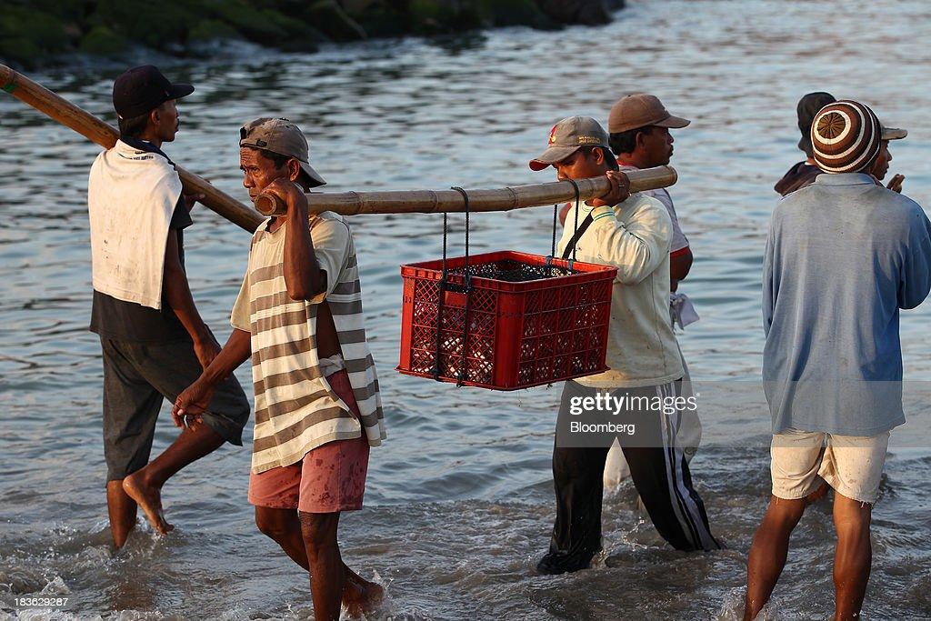 Workers carry a crate of fish at Kedonganan beach in Jimbaran, Bali, Indonesia, on Saturday, Oct. 5, 2013. Indonesia's central bank kept its key interest rate unchanged after its most aggressive tightening cycle in almost eight years as inflation pressure eased. Photographer: SeongJoon Cho/Bloomberg via Getty Images