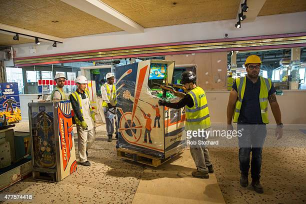 Workers carry out the final stages of contruction to the Dreamland amusement park on June 18 2015 in Margate England Dreamland is considered to be...