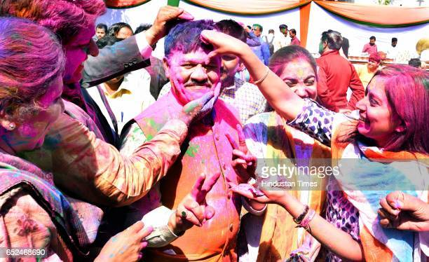 BJP workers celebrating Holi Festival with charge of Delhi Affairs and National Vice President Shyam Jaju during the Holi Milan program at Delhi BJP...