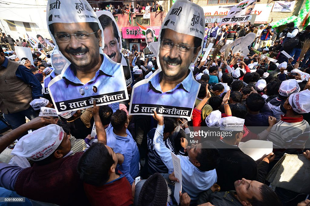 AAP workers celebrating victory in Delhi Assembly Election at AAP office in East Patel Nagar on February 10, 2015 in New Delhi, India.