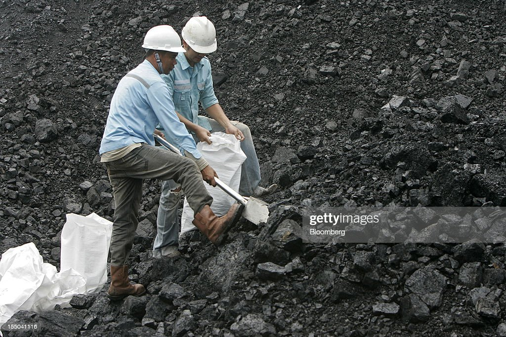 Workers collect coal samples from a stockpile at the PT Exploitasi Energi Indonesia operations in Asam-Asam, South Kalimantan, Indonesia, on Monday Oct. 29, 2012. Indonesia, the world's largest exporter of coal for electricity generation, will reduce the amount of the fuel that producers must sell to buyers inside the country for next year by 9.4 percent. Photographer: Dadang Tri/Bloomberg via Getty Images