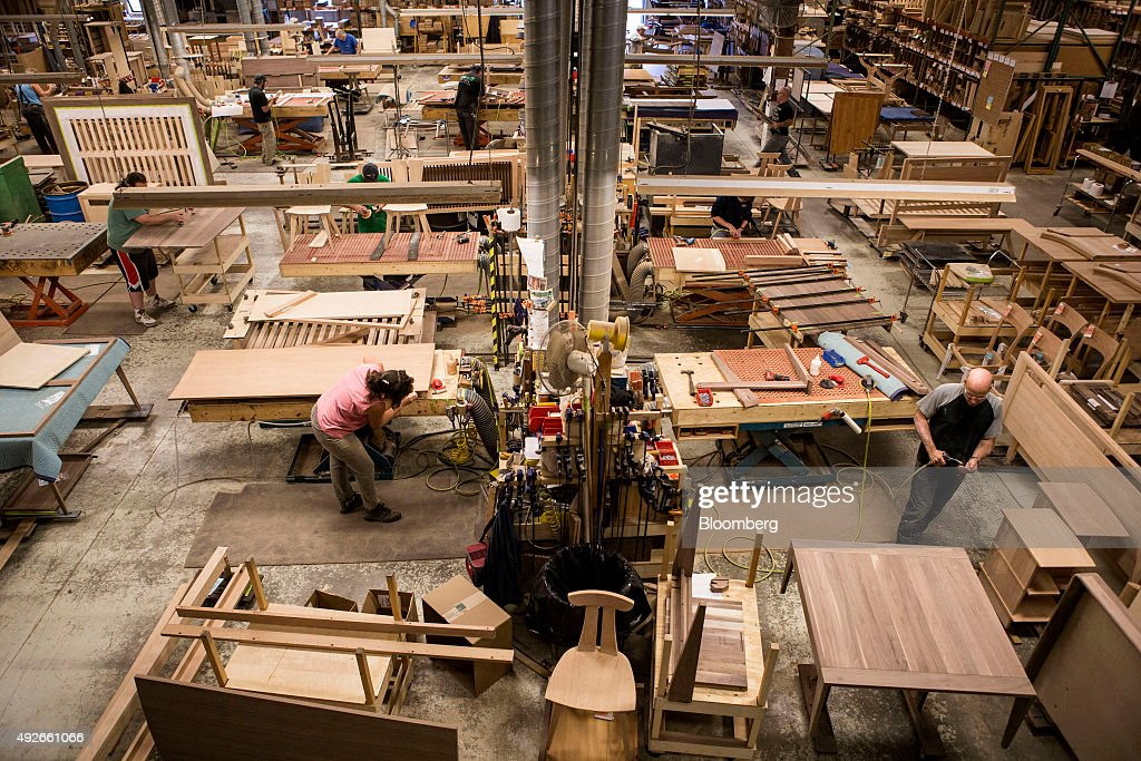 workers construct furniture from wood at the copeland furniture facility in bradford vermont - Copeland Furniture