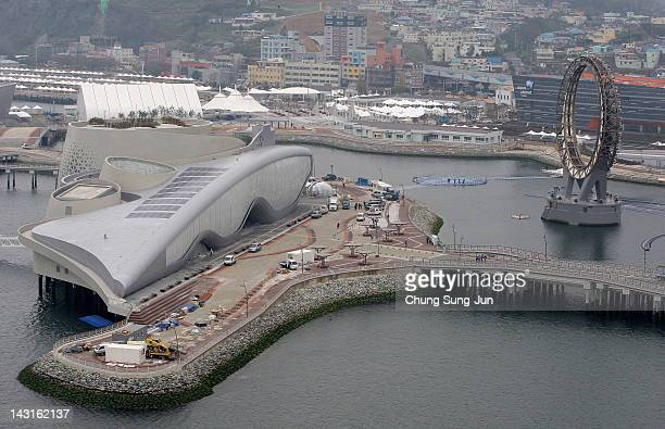 Workers construct the 2012 Yeosu Expo facilities on April 20 2012 in Yeosu South Korea More than 105 countries 10 International Organizations and 10...