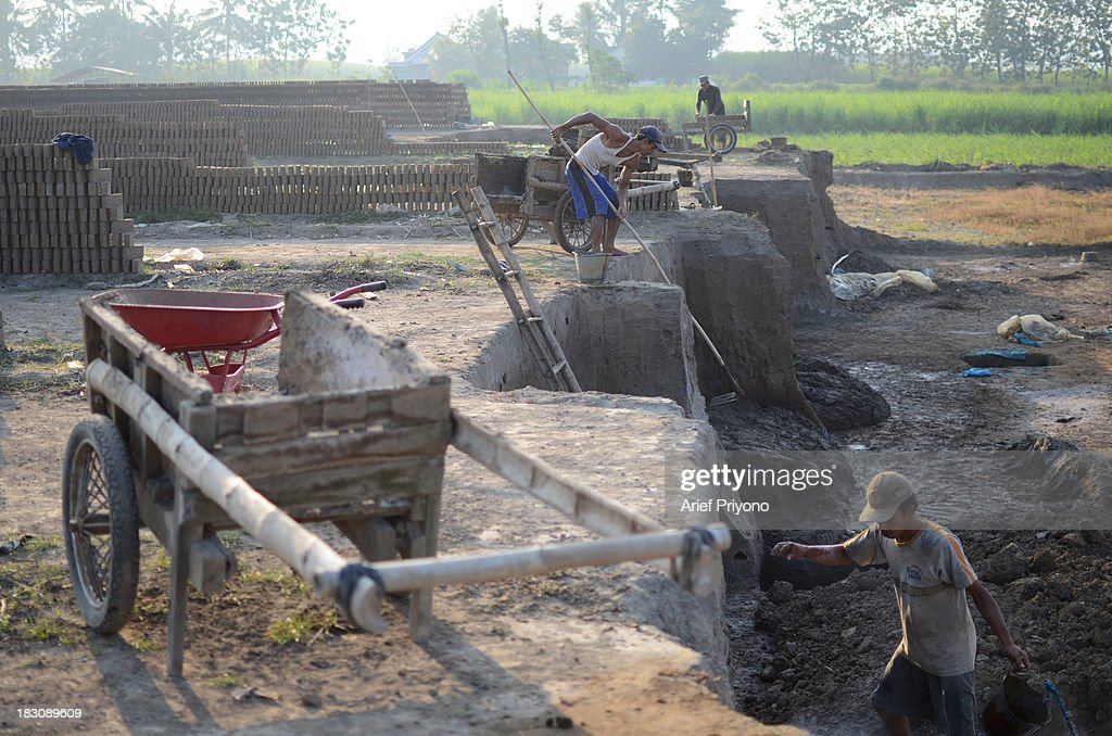 Workers digging mud, the raw material for making bricks, in a sugarcane field in Silir village. Many farmers in Indonesia have had to convert agricultural land because it is no longer profitable. Consequently Indonesian agricultural production has declined. Although Indonesia is an agricultural country, it still has to rely heavily on imported food staples such as rice, sugar, soybeans and corn. The Central Statistics Agency (BPS) announced that the number of farming households in Indonesia has decreased by 5.04 million families in the past 10 years. The 2003 Census of Agriculture claimed 31.17 million farm households. But in 2013 the number had fallen to 26.13 million. Indonesia has been listed as the world's largest sugar exporter. In 1930, when Indonesia was still called the Dutch East Indies, some 179 sugar factories produced over 3 million tons of sugar each year. Currently there are only 62 sugar factory in Indonesia..