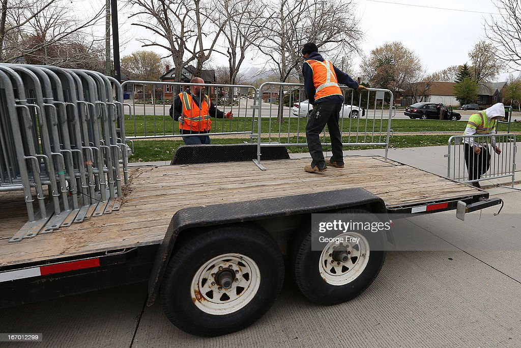 Workers drop off crowd control barriers at the finish line of the Salt Lake City Marathon, April, 19, 2013 in Salt Lake City, Utah. The Salt Lake City Marathon is going to be run tomorrow, April 20, 2013 and will be the first major marathon in the U.S. since the Boston Marathon Bombing. Police officials have said security has been dramatically increased since the Boston bombing and is at some the highest levels since the city hosted the 2002 Olympics.