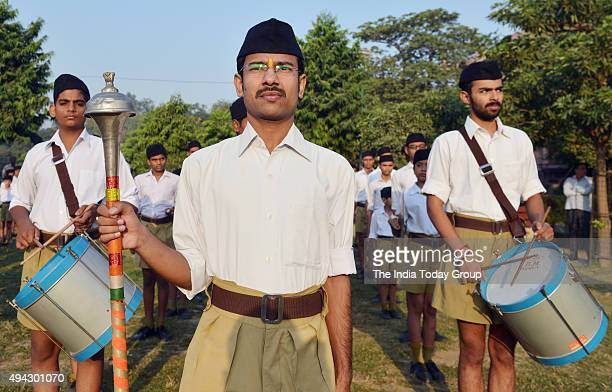 RSS workers during Vijaya Dashmi function at Rotash Nagar in East Delhi