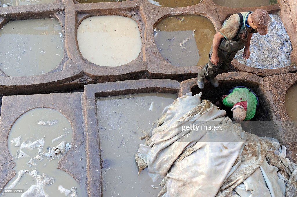 Workers dye sheepskins at the tanneries in Fes on November 21, 2012. AFP / PHOTO / FADEL