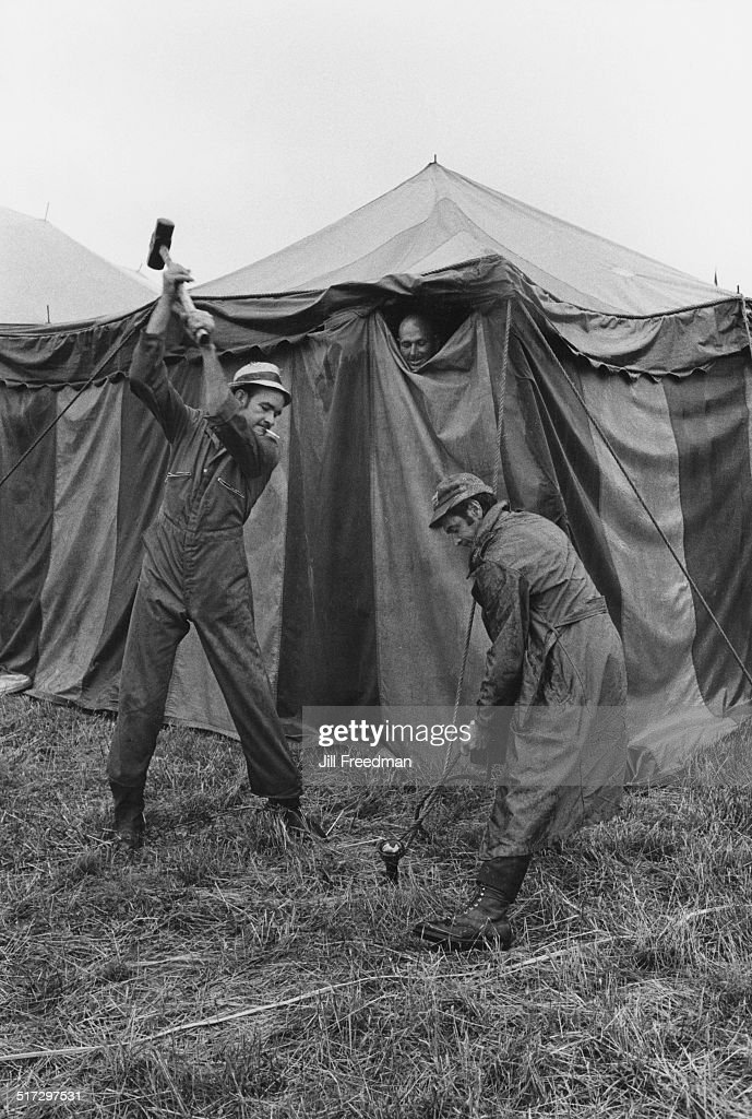 Workers erecting the tent at the Clyde BeattyCole Bros Circus show USA 1971