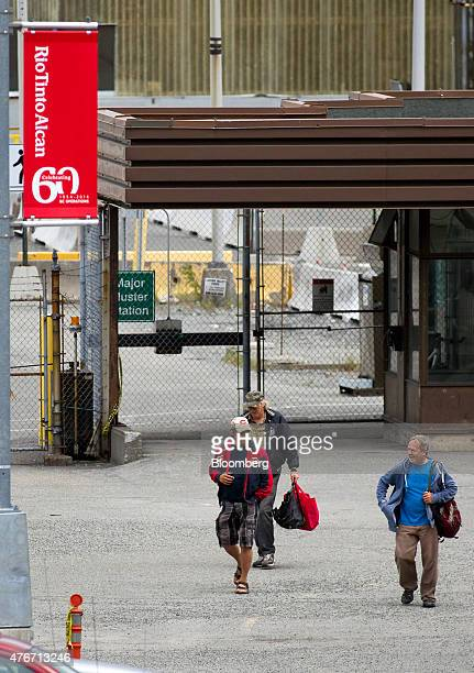Workers exit the Rio Tinto Alcan Inc smelter facility in Kitimat British Columbia Canada on Friday June 5 2015 Canadian stocks rose a second day as...