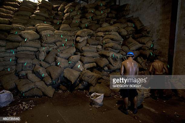 LEYRAL Workers fill and store bags of copra the flesh of the coconut at the oil mill of Papeete on December 9 2014 10000 tons of copra are delivered...